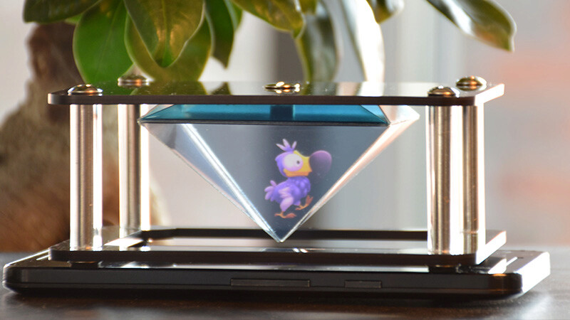 plastic-protected highly durable holographic pyramid to use with a smartphone